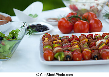 Delicious shishkebabs made from vegetables and chicken