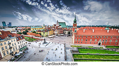 Castle square - Plac Zamkowy in Warsaw old town, Poland