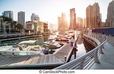 Dubai Marina - Panoramic view with modern skyscrapers and...