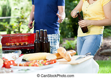 Grill party in sunny day - Friends making grill party in...