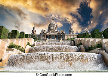 The Palau Nacional situated in Montjuic in sunset, Barcelona