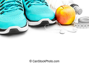 sport background: blue running shoes and apple with objects...