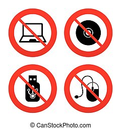 Notebook pc and Usb flash drive stick icons - No, Ban or...