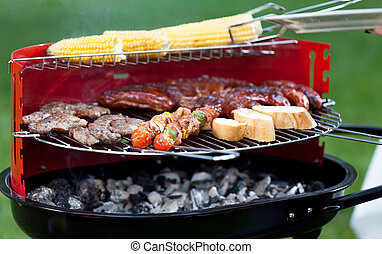 Meat and vegetables on grill - Delicious meat and vegetables...