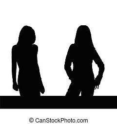girl two black vector - girl two black art vector