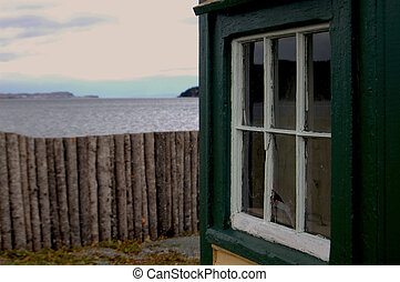 Window to the Shore of Clarke\'s Beach, Newfoundland