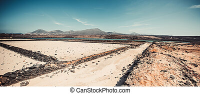saltworks salinas de Janubio colorful on the island of...