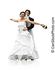 Dancing wedding couple - Dancing young wedding couple...