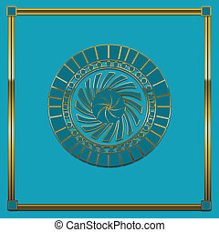 Aqua Backround Gold Medallion - Aqua background with gold...