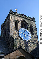 Church clock tower - Low angle view of Christian church...