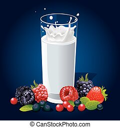 glass of milk with splash and fruit