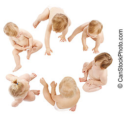 Babies Group, Kids Toddlers Crawling in Infant Diapers,...
