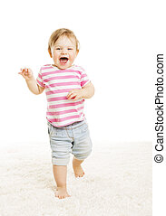 Baby Kid Go One Year Old, Little Child Girl Laughing Open...