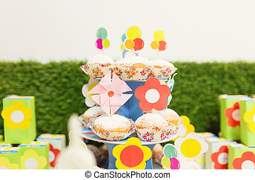 Birthday table with sweets for children party
