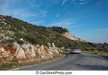 山, 危ない, 速い, ラニング, 自動車, 曲がった, 道