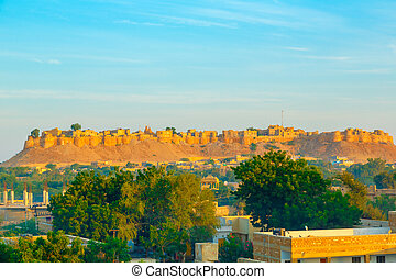 Jaisalmer Fort in sunrise light, Rajasthan, India, Asia