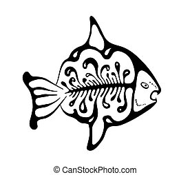 black fish in the native style, vector