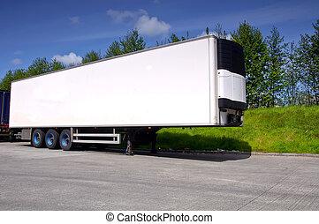 Haulage, ar, caminhão, transportar,  conditioned, reboque