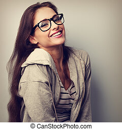 Happy laughing casual woman in eyeglasses. Vintage closeup...
