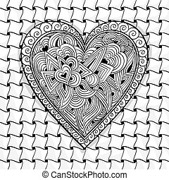 vector black and white heart pattern of flowers, spirals,...