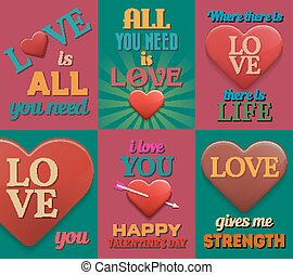 Unusual inspirational love posters Set 2 Vector illustration...