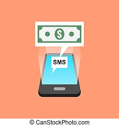 Smartphone sms transaction concept Isometric design Vector...