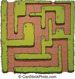 Hedge maze - Cartoon hedge maze. Vector clip art...