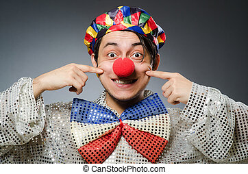 rigolote, clown, contre, sombre, fond,