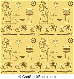 pattern of Egyptian hieroglyphics vector illustration. Cloth...