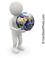 man holding planet earth in his hands
