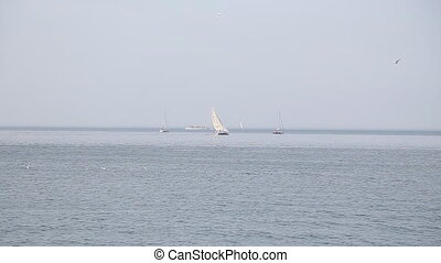 Sailboat on the horizon on a sunny day in Turkey