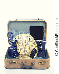 collection of vacation travel items