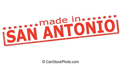 Made in San Antonio - Rubber stamp with text made in San...