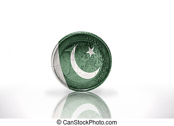 euro coin with pakistani flag on the white background