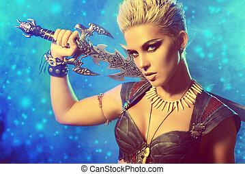 battle - Portrait of a beautiful female warrior in battle....