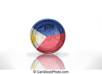 euro coin with philippines flag on the white background