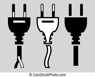 electric plug set of vector icons of black on a gray...