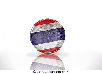 euro coin with thailand flag on the white background