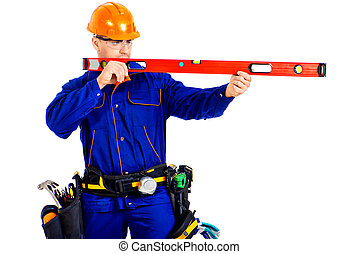 measurement - A construction worker working with building...