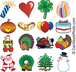 holiday icon set 3 - 16 vector holiday icons