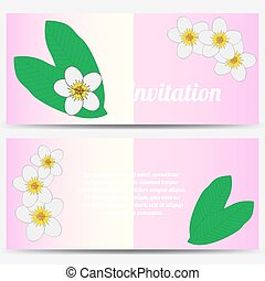 Invitation with tropical plumeria on a pink background
