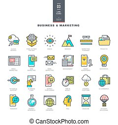 Business and marketing line icons - Set of line modern color...