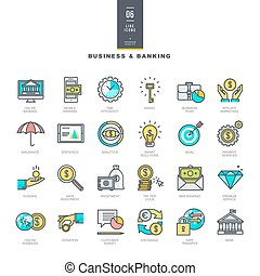 Business and banking line icons - Set of line modern color...