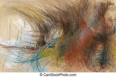 an hand made illustration - abstraction - Pastel technique -...