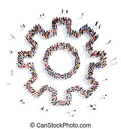 people in the shape of gears. - A large group of people in...