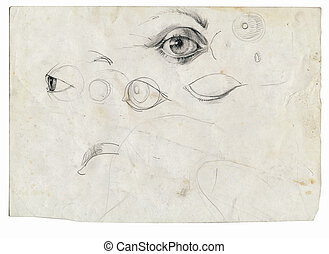 an hand drawing - eyes - An hand drawn illustration from...