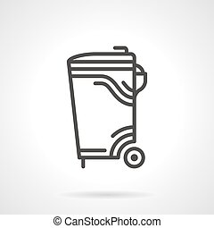 Garbage bin black line vector icon - Black flat line vector...