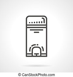 Wastebasket black line vector icon - Black flat line vector...