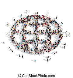 people in the shape of globe. - A large group of people in...