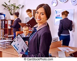 オフィス, グループ, ビジネス, 人々